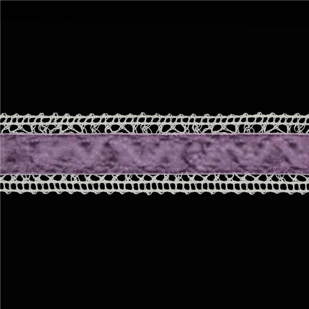 1 3/8&#39;&#39; Velvet Lace Trim Ivory/Lavender
