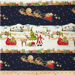 Christmas Metallic Border Stripe Navy