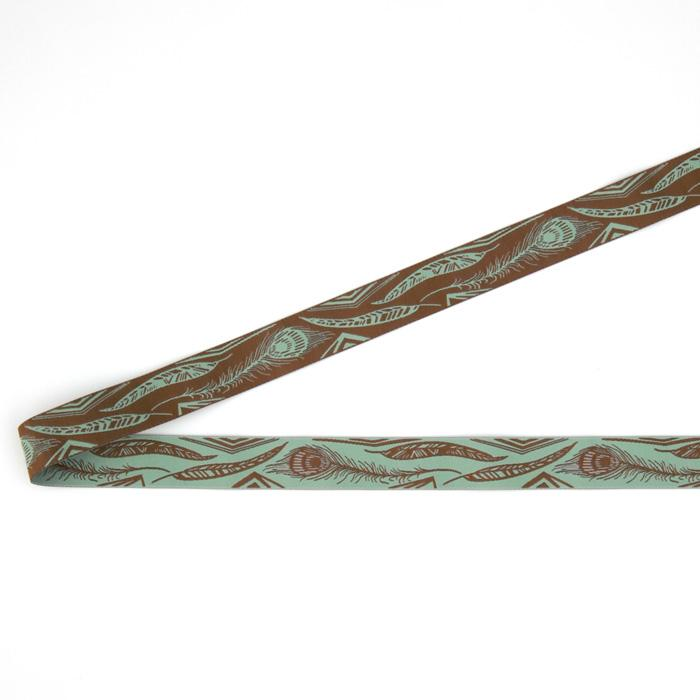 7/8&quot; Anna Maria Horner Feathers Ribbon Aqua/Brown