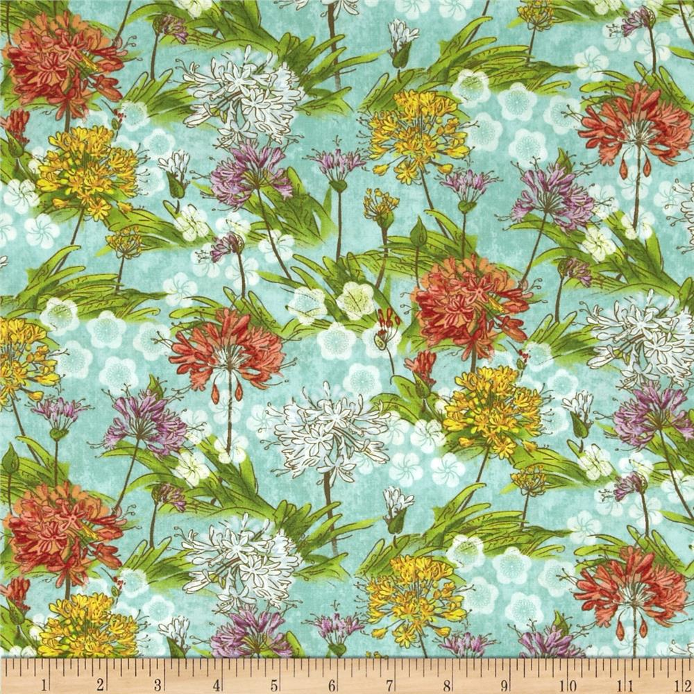 Serenity Garden Packed Flowers Teal