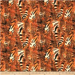 Jungle Safari Broadcloth Animal Orange