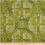 "0294095 108"" Wide Quilt Backing Medallion Tonal Green"