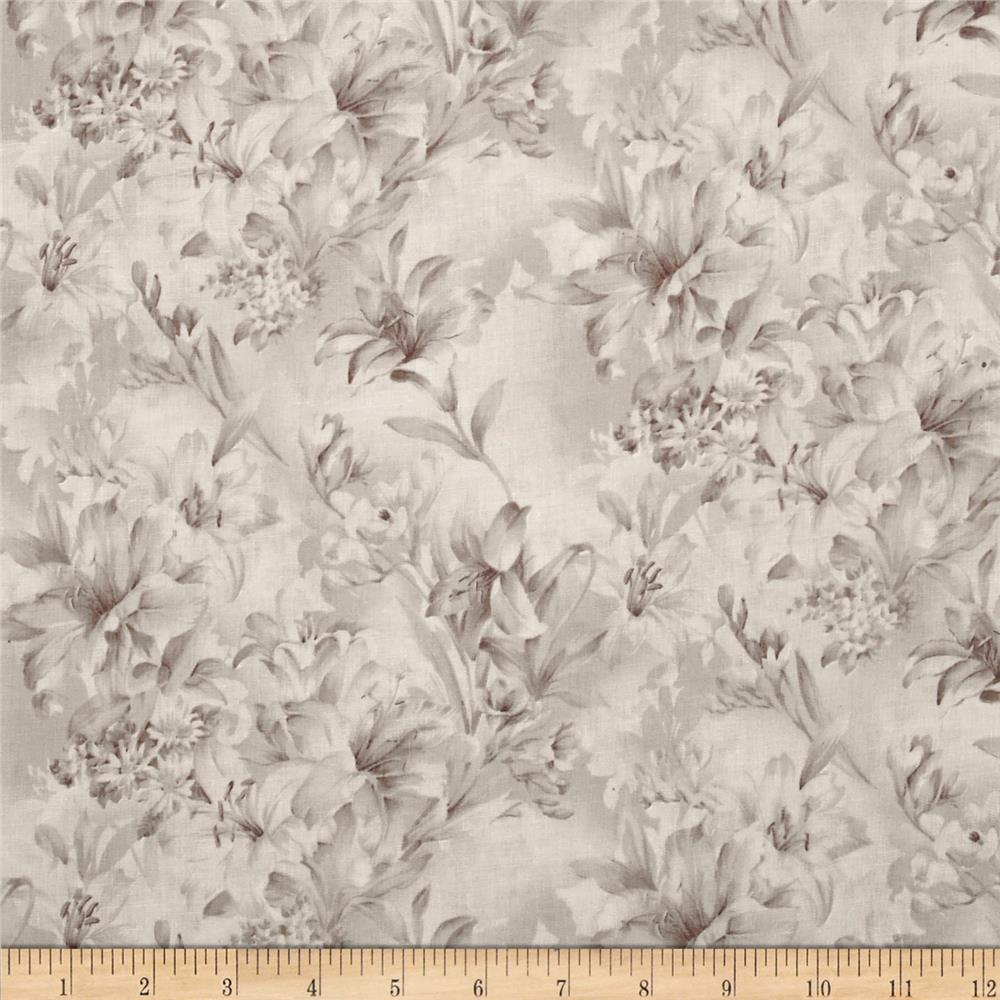 "118"" Wide Day Lily Quilt Backing Floral Taupe"