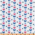 Cotton Jersey Knit Butterflies & Hearts White/Blue/Pink