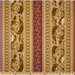 Flora and Fauna Garland Repeating Border Rosewood/Multi