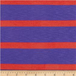Designer Rayon Blend Slub Jersey Knit Stripes Purple