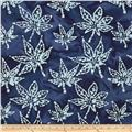 Indian Batik Blue Magic Oak Leaf Indigo