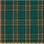 FO-649 Kaufman House of Wales Plaid Shirting Green/Orange