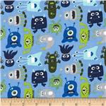 0271486 Alpine Flannel Monsters Blue