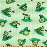 FT-534 Comfy Flannel Frog Houndstooth Green