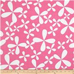 0279131 Garden Rayon Challis Tropical Floral Petals Pink/White