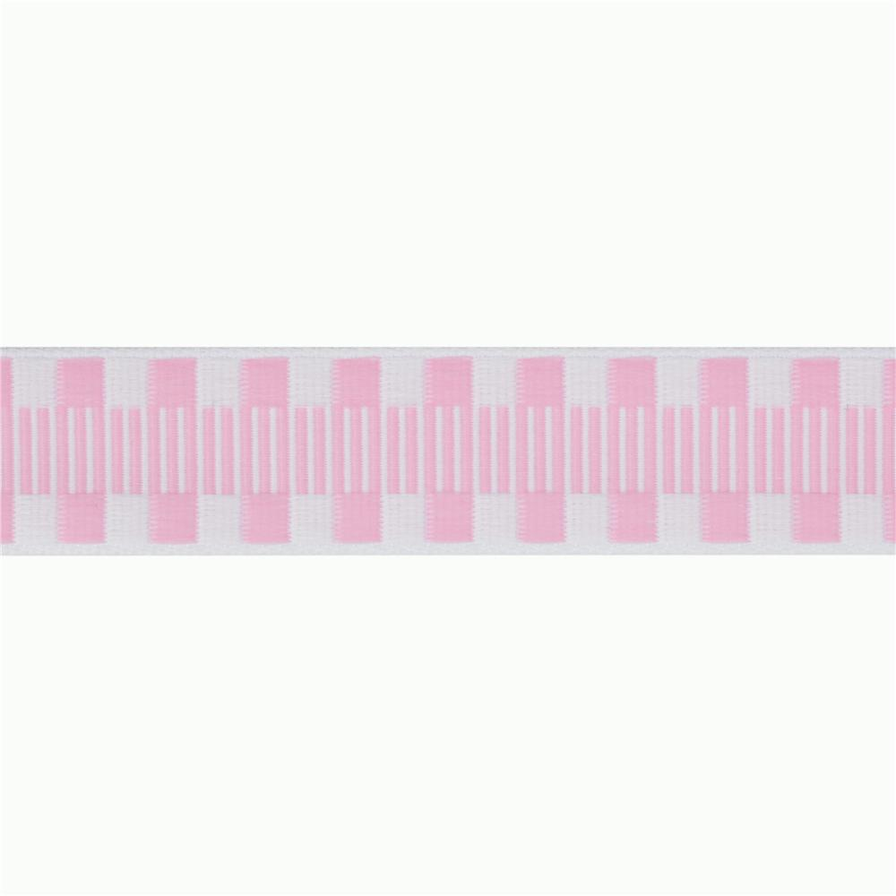 1'' Jacquard Ribbon Check Stripes Pink/White
