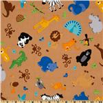 FU-073 Riley Blake Zoofari Tossed Animals Brown