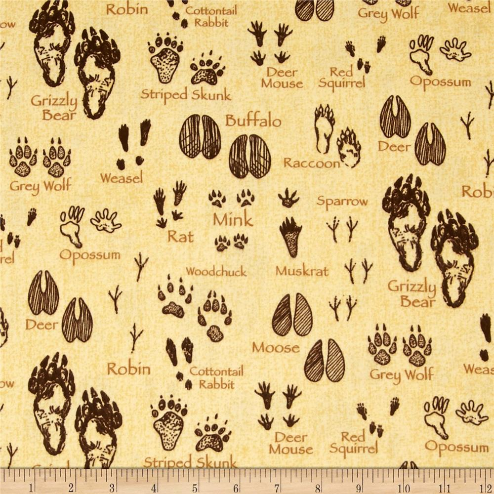 Timber Lodge Flannel Animals Footprints Nature Natural