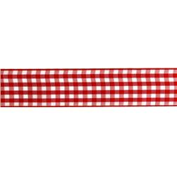 "1.5"" Gingham Ribbon Red/White"