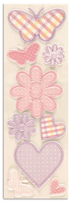 Martha Stewart Crafts Pastel Fabric Butterfly Stickers