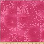 "0294097 108"" Wide Quilt Backing Medallion Tonal  Pink"