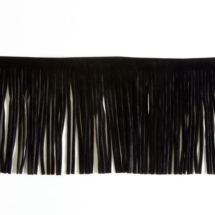 4&#39;&#39; Faux Suede Fringe Trim Black