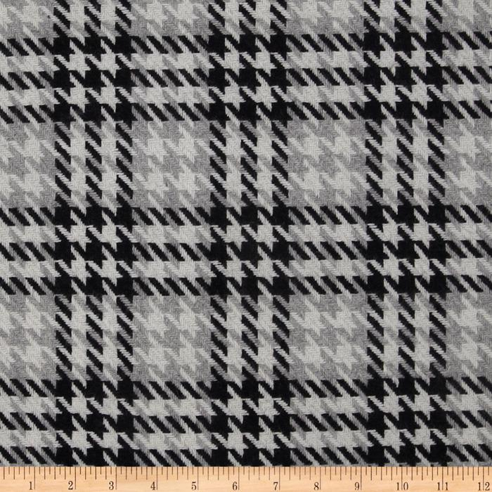 Wool Blend Coating Large Houndstooth Black/Grey