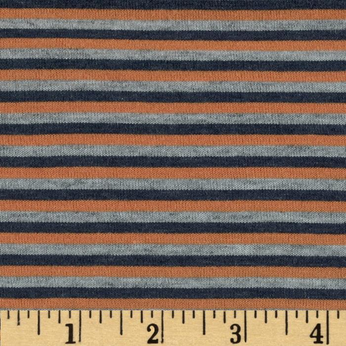 Designer Rayon Jersey Knit Mini Stripes Orange
