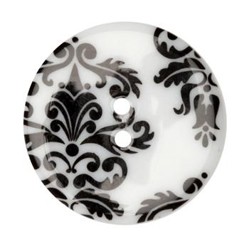 Fashion Button 1-3/8'' Damask Scroll White/Black