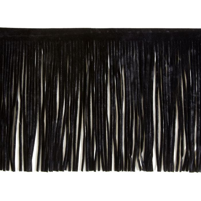 6'' Faux Suede Fringe Trim Black