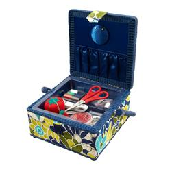 Sewing Basket & Basic Notions Kit Blue/Green