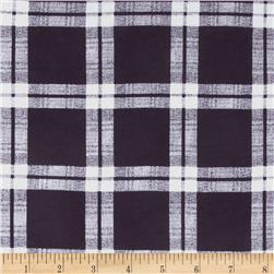 French Terry Plaid White/Eggplant