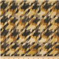 Stretch Jersey Knit Abstract Houndstooth Gold