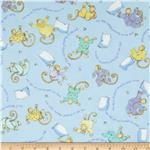 0273161 Moda Beddy Bye Flannel Little Monkeys Sky