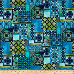 Moonlit Garden Retro Patchwork Blue Jay