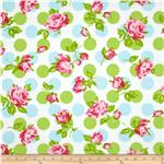 0281947 Tanya Whelan Sugar Hill Flannel Falling Roses Blue
