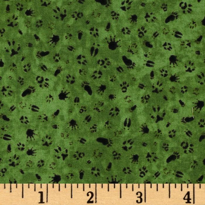 Ramblin' Woods Paw Prints Green