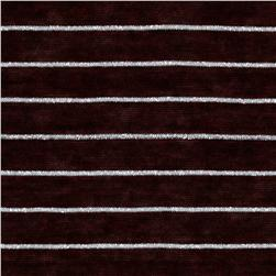 Designer Stretch Rayon Blend Tissue Jersey Knit Stripes Silver/Maroon