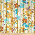 Designer Cotton Lawn Floral Stripe Yellow/Orange