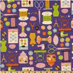 FK-702 Kokka Trefle Cotton/Linen Canvas Sewing Notions Purple