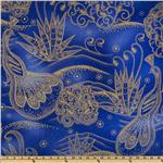 Timeless Treasures Lux Metallics Peacock Cobalt/Gold
