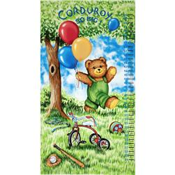 Corduroy Bear Panel Watch Me Grow Growth Chart Blue