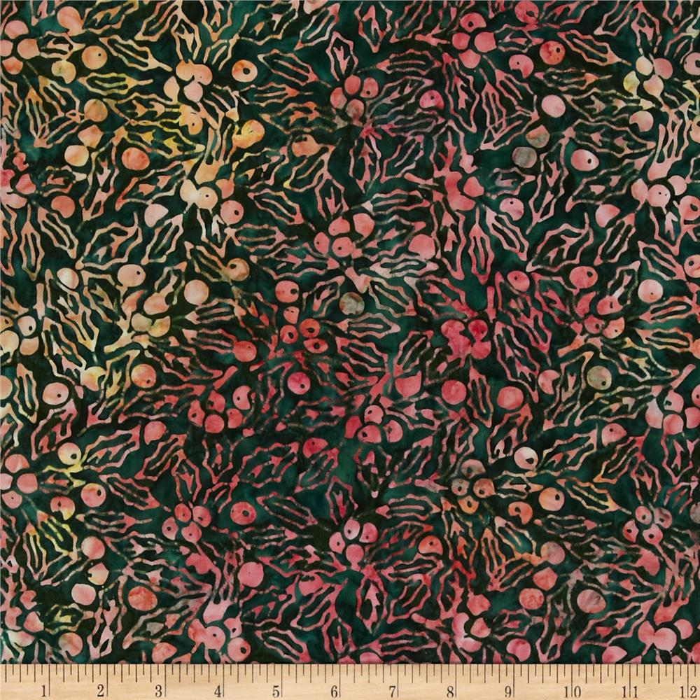 Batavian Batiks Holly Berries Dark Green