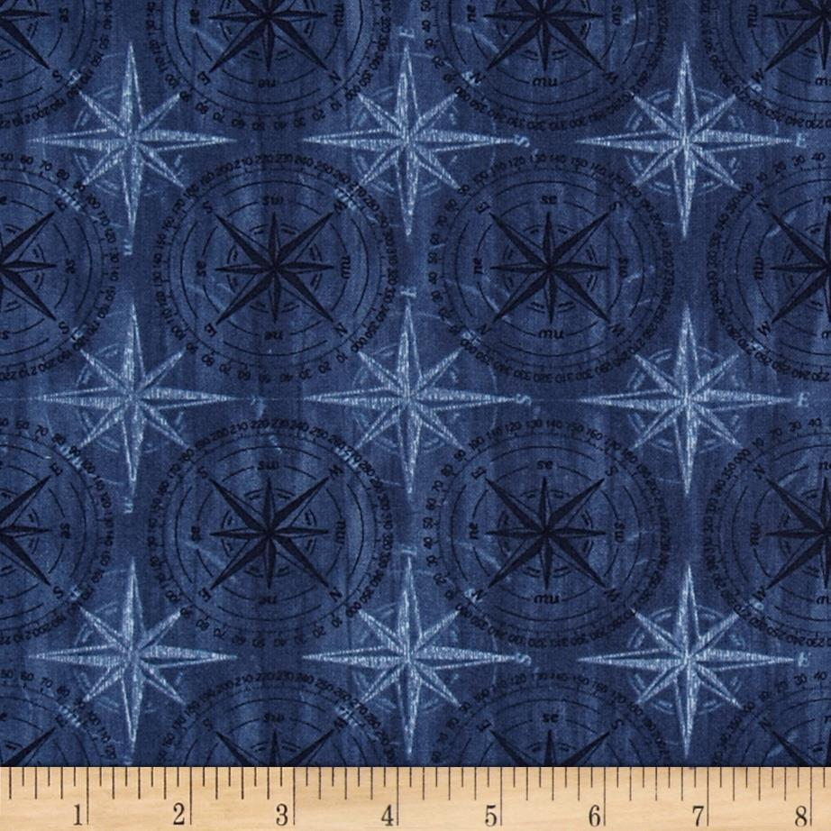 Among The Pines Compass Rose Tonal Dark Blue