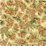 Festive Holiday Pine Cones Honey Brown/Pine Green