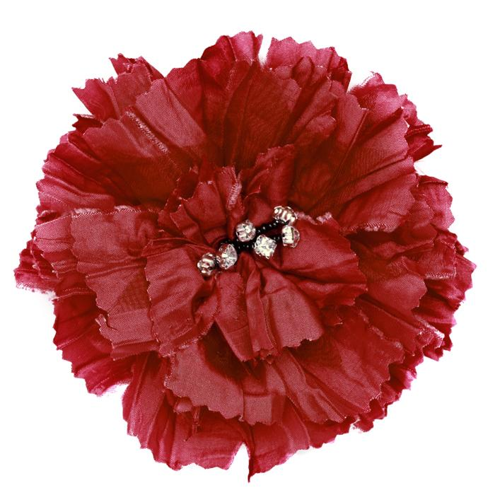 Florentina Jeweled Brooch 4'' X 4'' Red