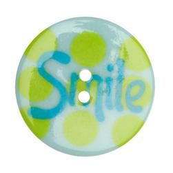 Novelty Button 1 3/8'' Smile Green