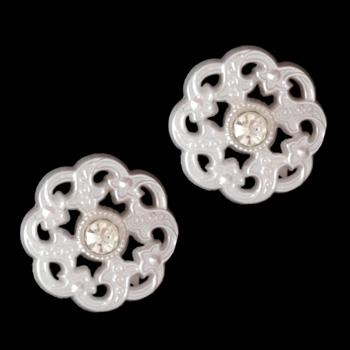 Keepsake Rhinestone Glass Button 5/8'' Pearl/White