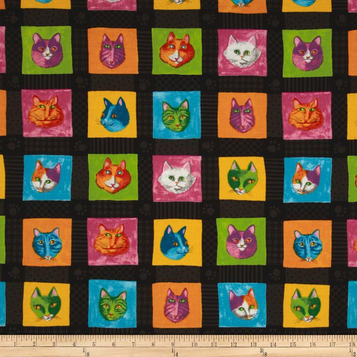 Moda Prisma Cats Kitty Quilt Black
