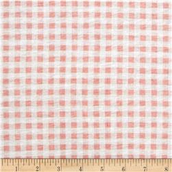 Cotton Jersey Knit Gingham White/Pink