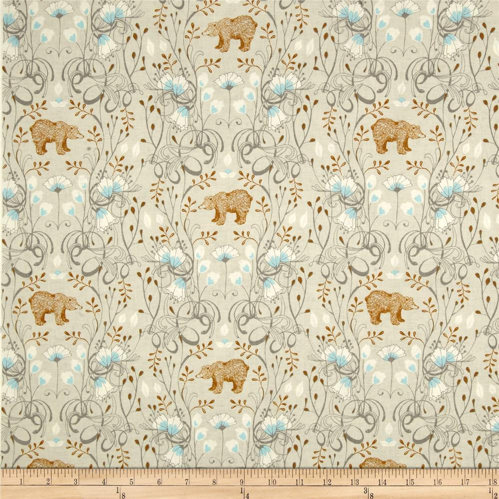 Timber & Leaf Brush Bear Light Grey
