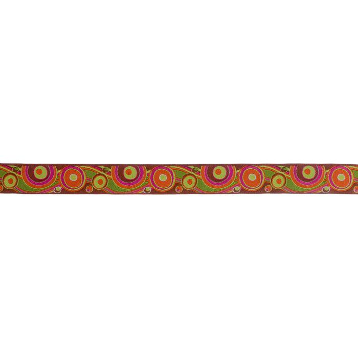 7/8'' RIbbon Circles & Waves Brown/Orange