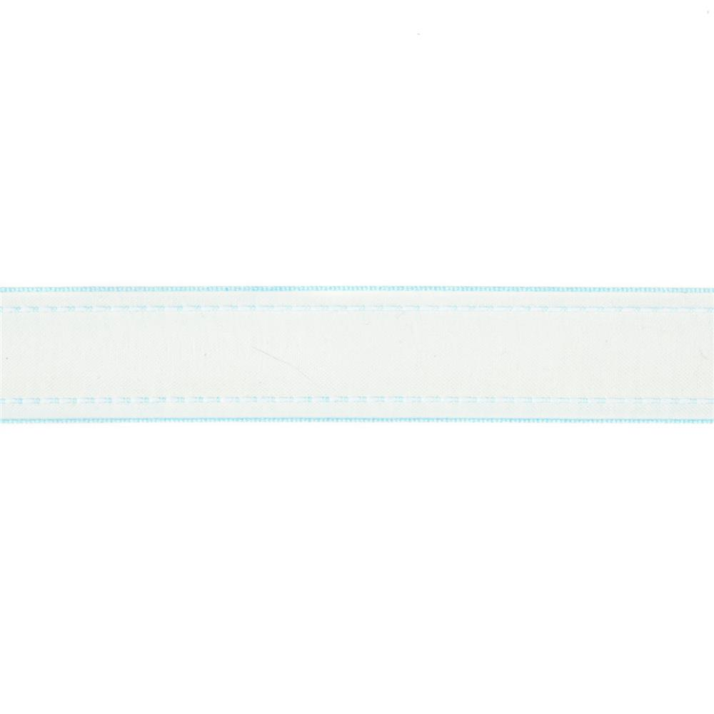"7/8""  Sheer Stitched Edge Ribbon Light Blue"