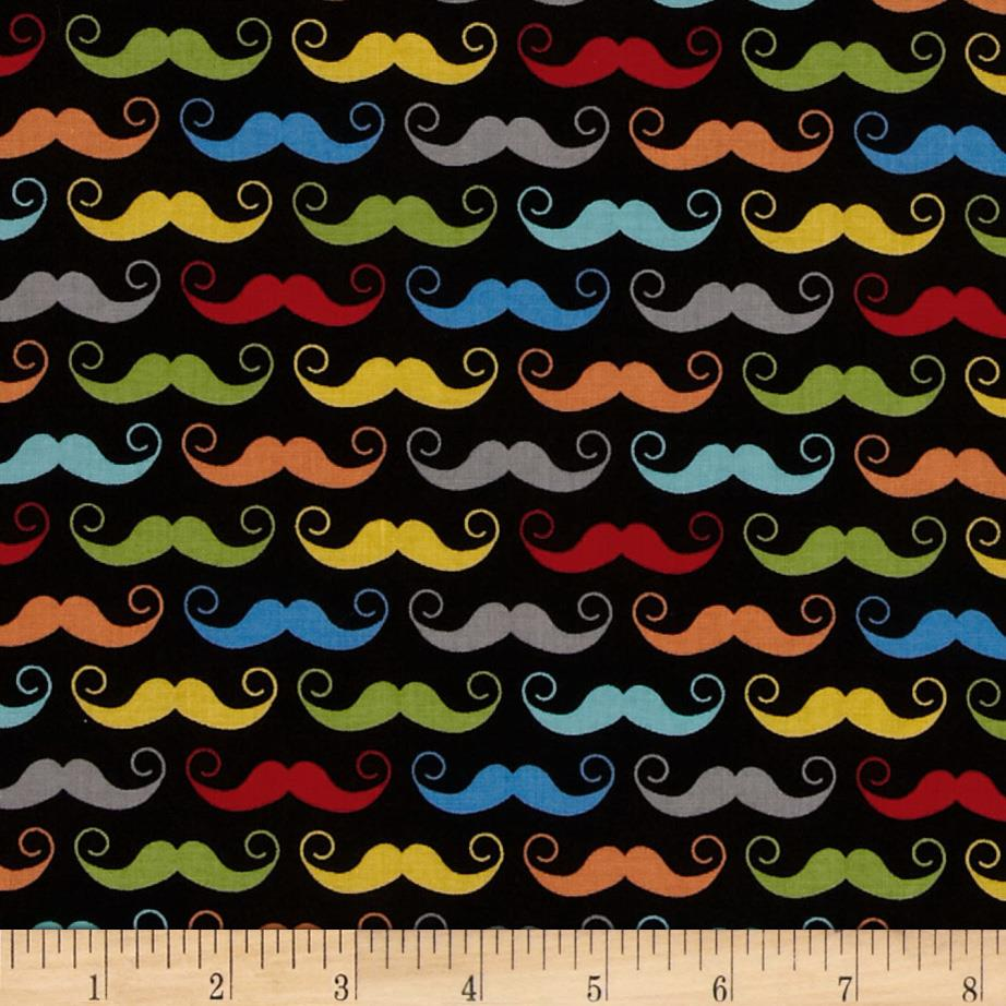 Riley Blake Geekly Chic Mustache Black